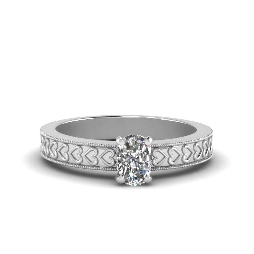 Cushion Cut Solitaire Heart Design Engraved Antique Engagement Ring In 18K White Gold