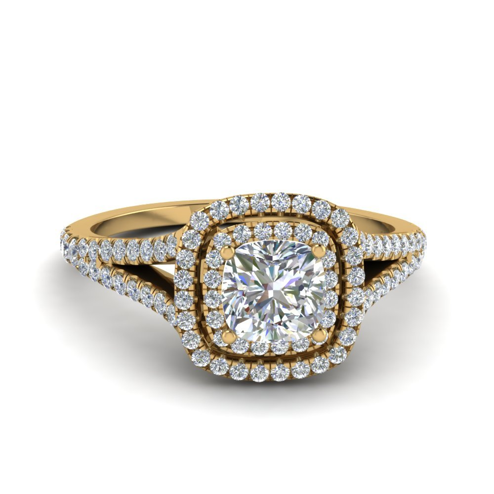 Cushion Cut Split Double Halo Diamond Engagement Ring In 14K Yellow Gold