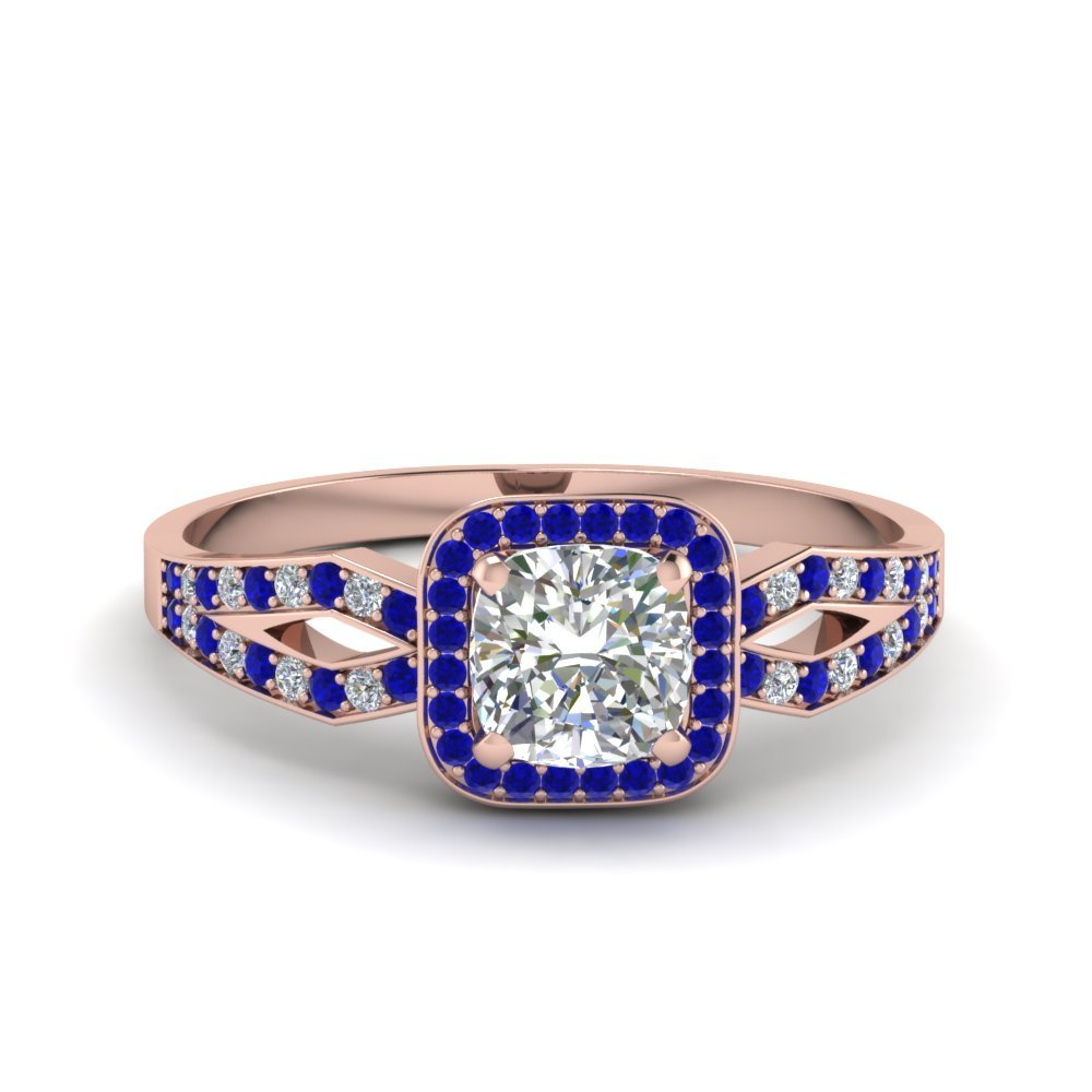 Sapphire Rose Gold Halo Engagement Ring