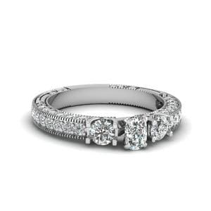 Cushion Cut Stone Accented U Prong Diamond Vintage Engagement Ring In 14K White Gold
