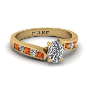 Unique Swirl Cushion Diamond Engagement Ring With Orange Sapphire In 14K Yellow Gold