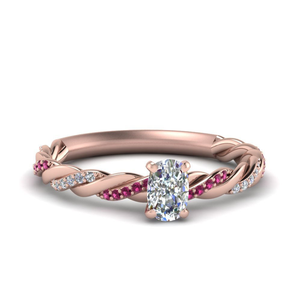 Twisted Delicate Cushion Cut Diamond Engagement Ring With Pink Sapphire In 14K Rose Gold