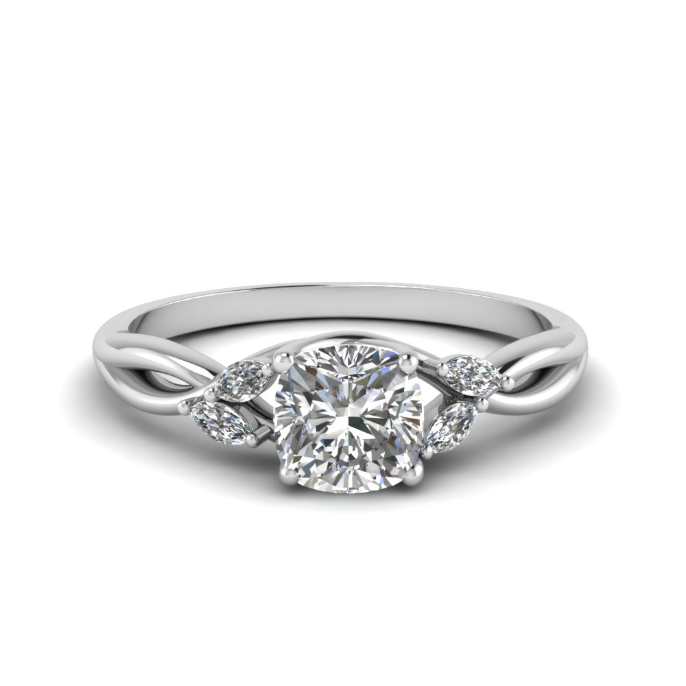 Cushion Cut Twisted Petal Ring