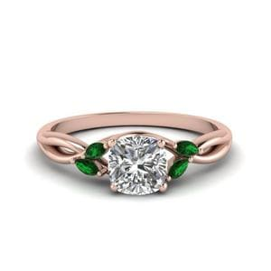 Cushion Twisted Petal Diamond Ring