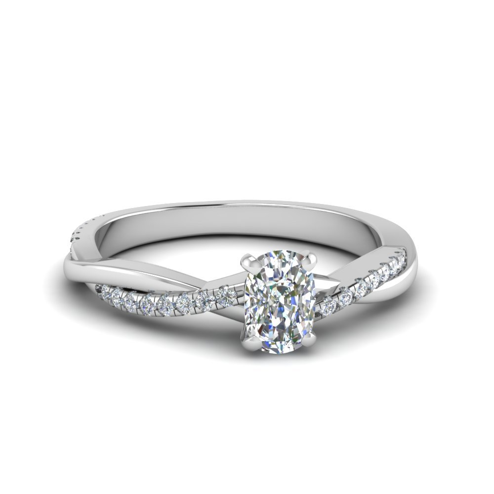 Cushion Cut Twisted Vine Diamond Ring In 14K White Gold