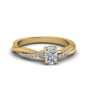 Cushion Cut Twisted Vine Diamond Ring In 14K Yellow Gold