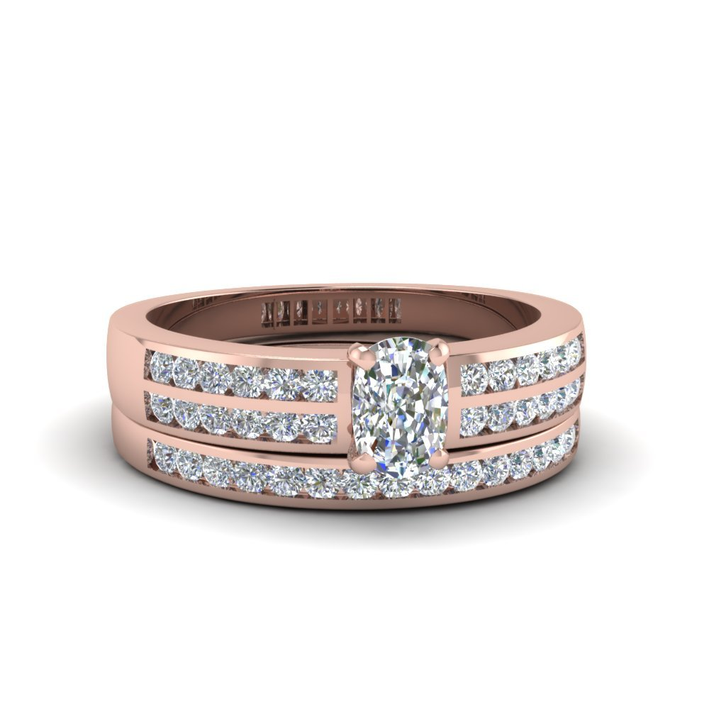 Cushion Cut Two Row Channel Diamond Bridal Set In 18K Rose Gold