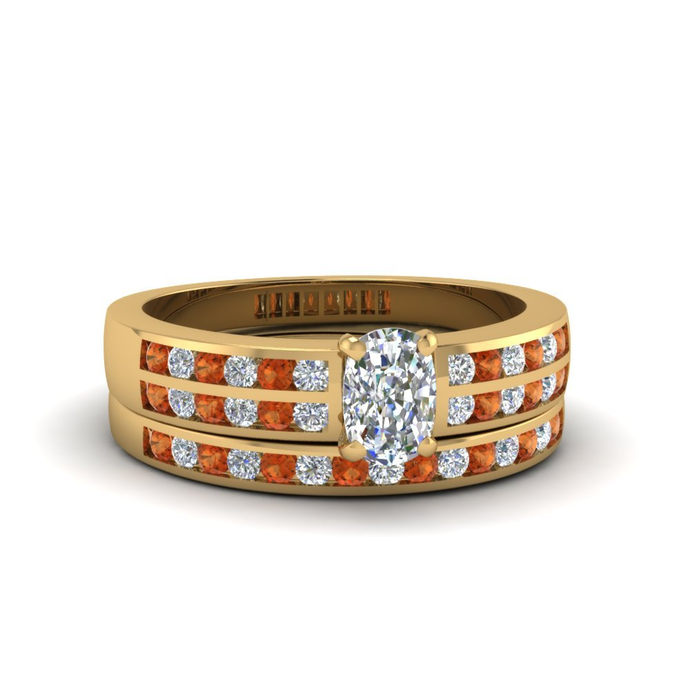 Cushion Cut Two Row Channel Diamond Bridal Set With Orange Sapphire In 14K Yellow Gold