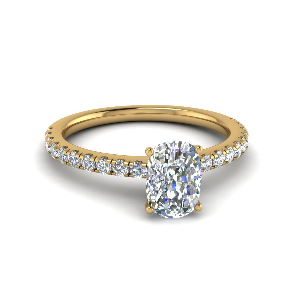 Cushion Cut U Prong Diamond Ring In 14K Yellow Gold