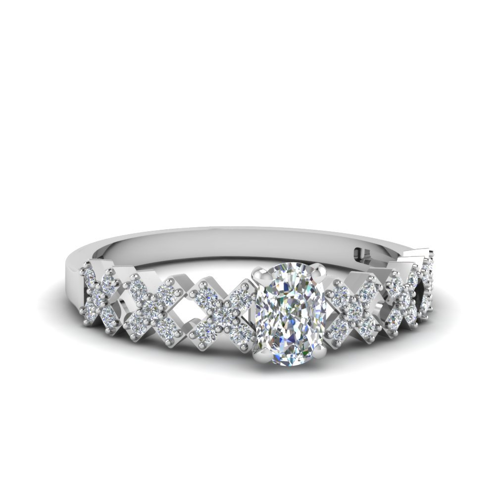 Cushion Cut Unique X Design Diamond Engagement Ring In 18K White Gold