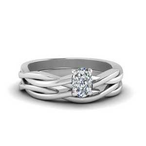 Cushion Solitaire Braided Ring Set