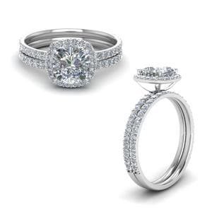 Cushion Halo Diamond Wedding Set