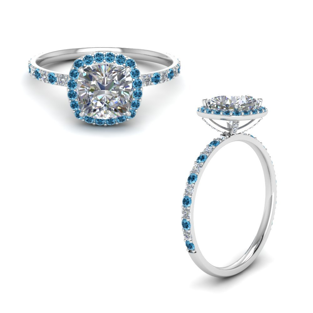 Blue Topaz Halo Diamond Ring Platinum
