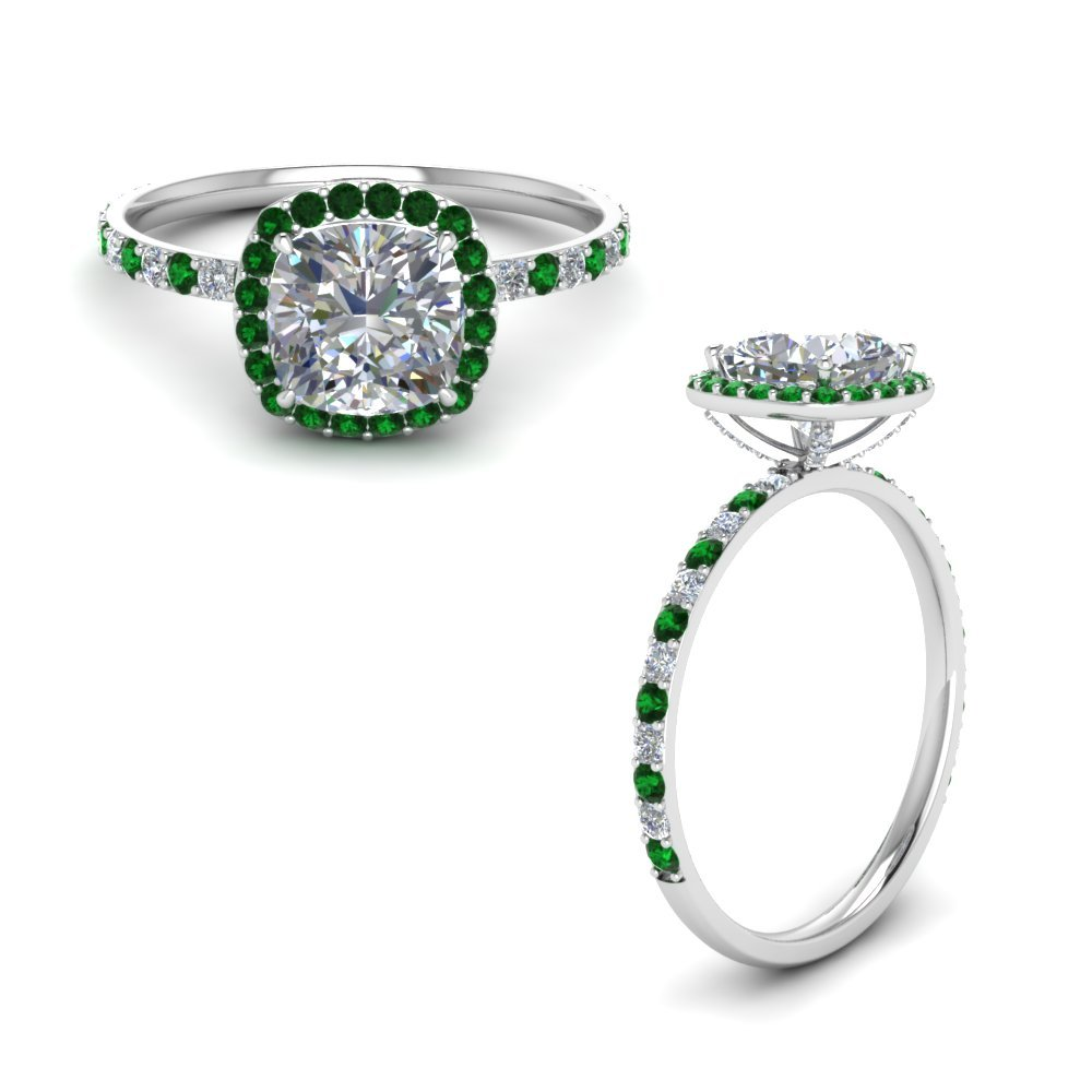 Diamond Prong Studded Emerald Ring
