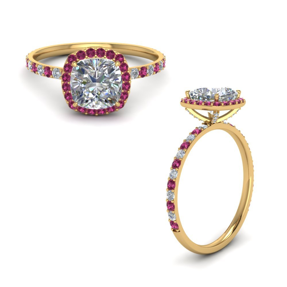 Cushion Halo Prong Studded Diamond Ring With Pink Sapphire In 14K Yellow Gold