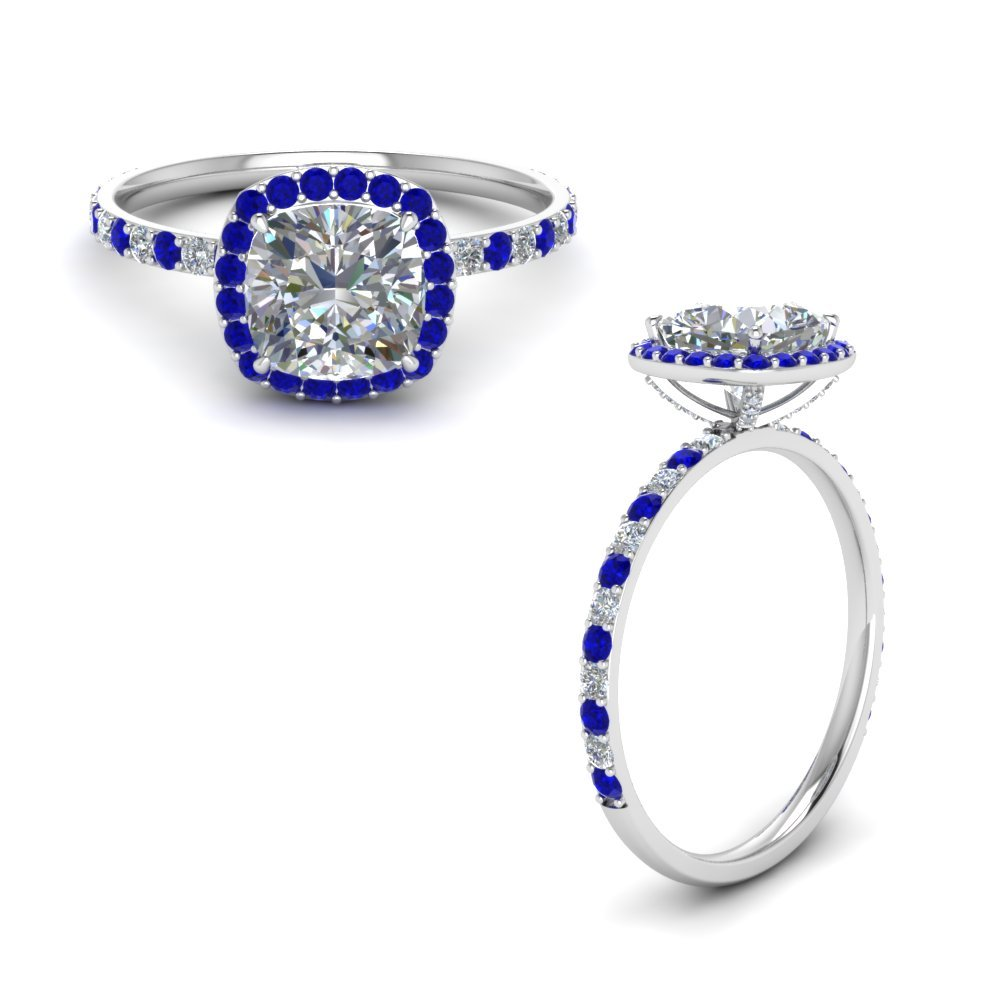 Sapphire Halo Prong Studded Diamond Ring