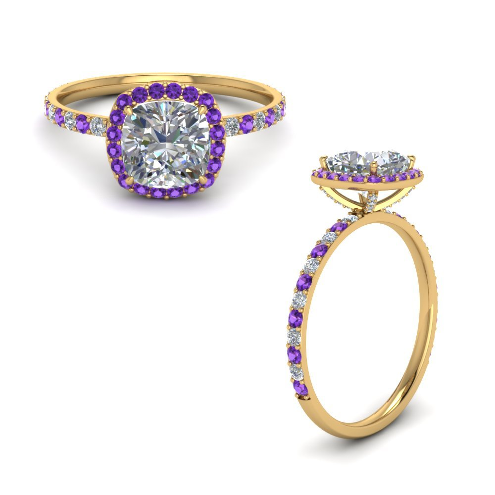 Purple Topaz With Diamond Halo Ring