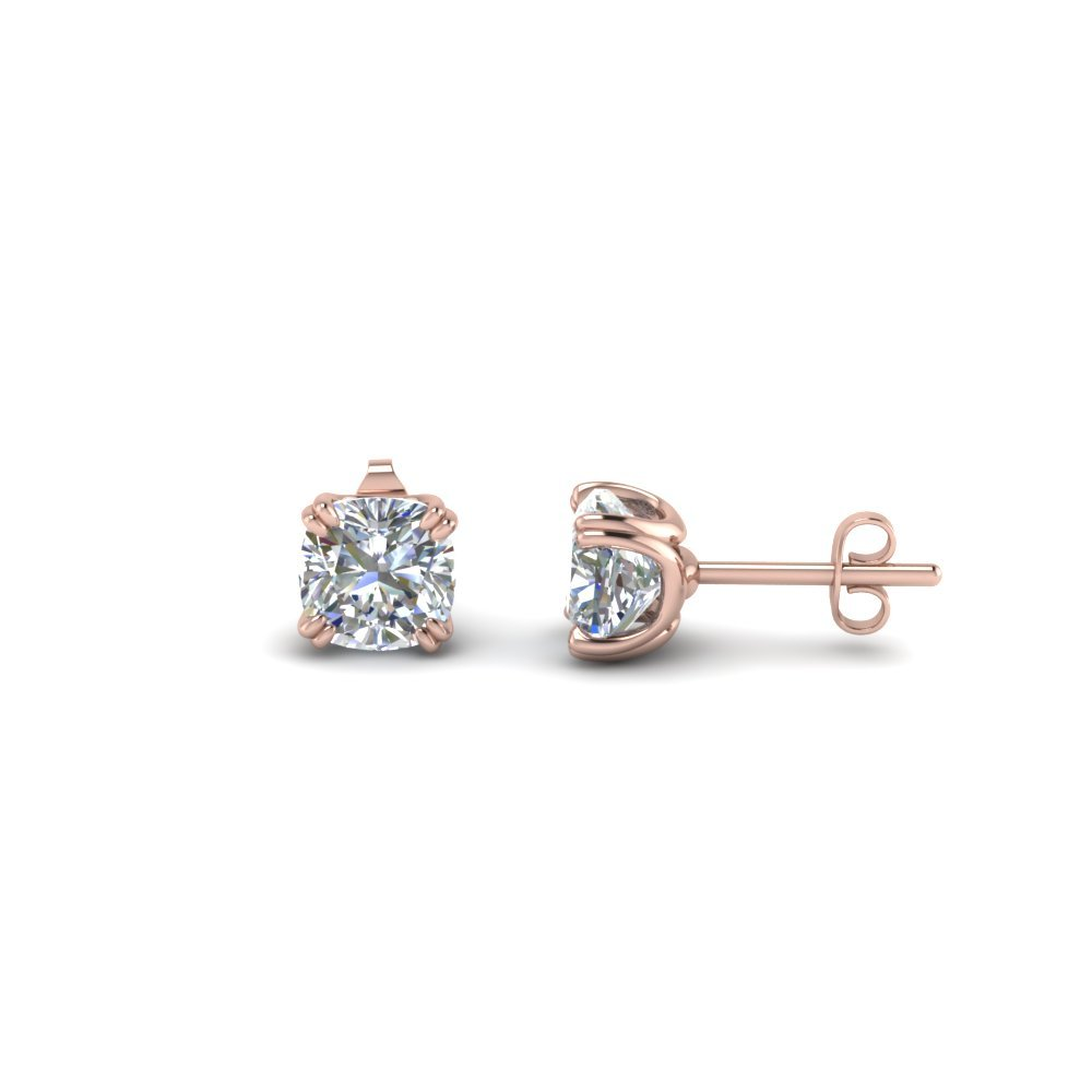 Cushion Stud Diamond Earring(1.50 Ct.) In 14K Rose Gold