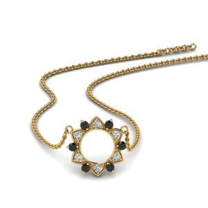 Circle Black Diamond Pendant