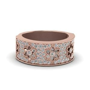 Daisy Design Diamond Nature Inspired Band In 14K Rose Gold