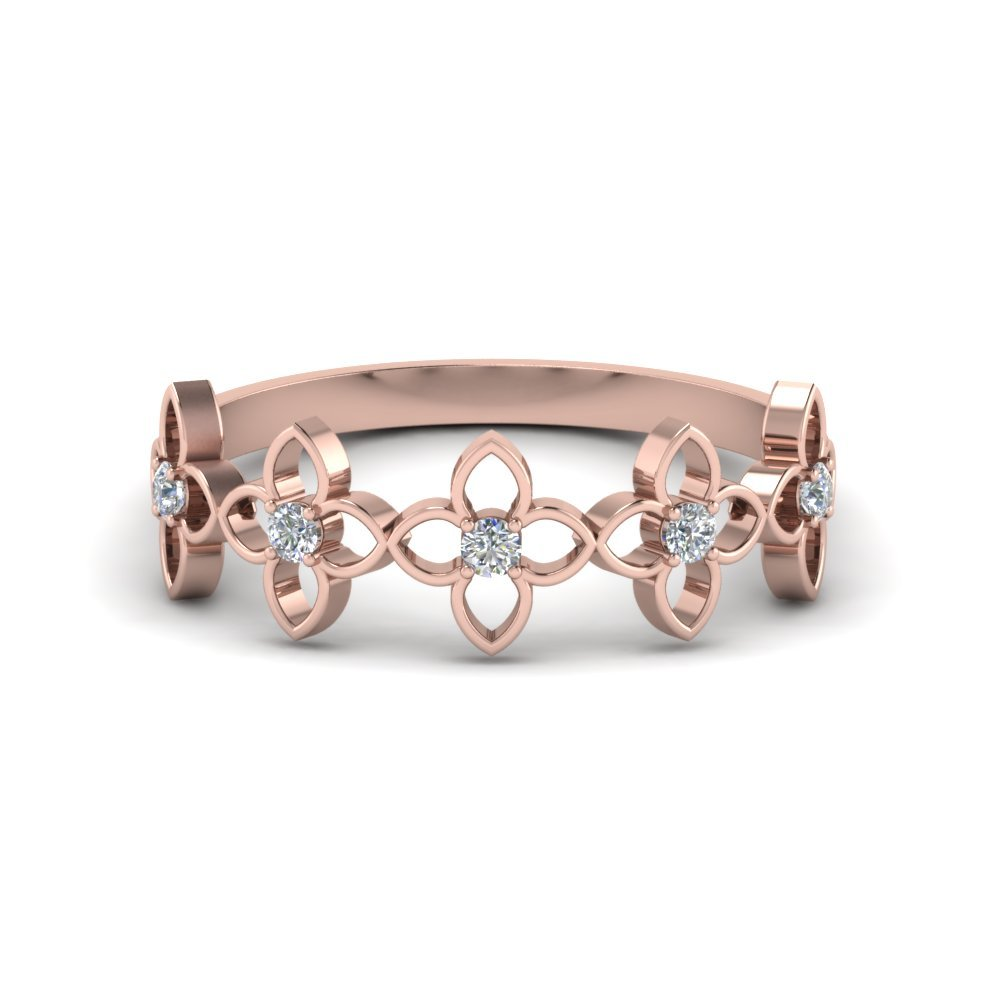 Daisy Diamond Wedding Band In 18K Rose Gold