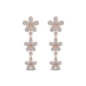 Daisy Flower Diamond 3 Drop Earrings