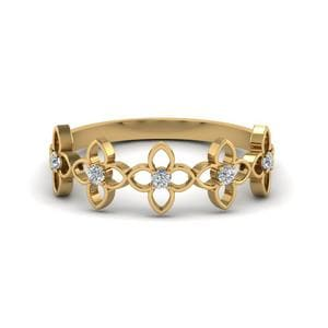 Daisy Flower Diamond Wedding Band In 14K Yellow Gold