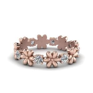 Daisy Flower Eternity Diamond Band In 14K Rose Gold