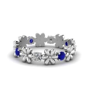 Sapphire Flower Eternity Band