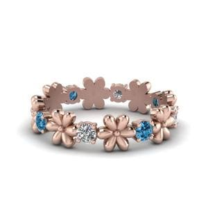 Blue Topaz Flower Eternity Band