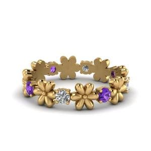 Yellow Gold Purple Topaz Band