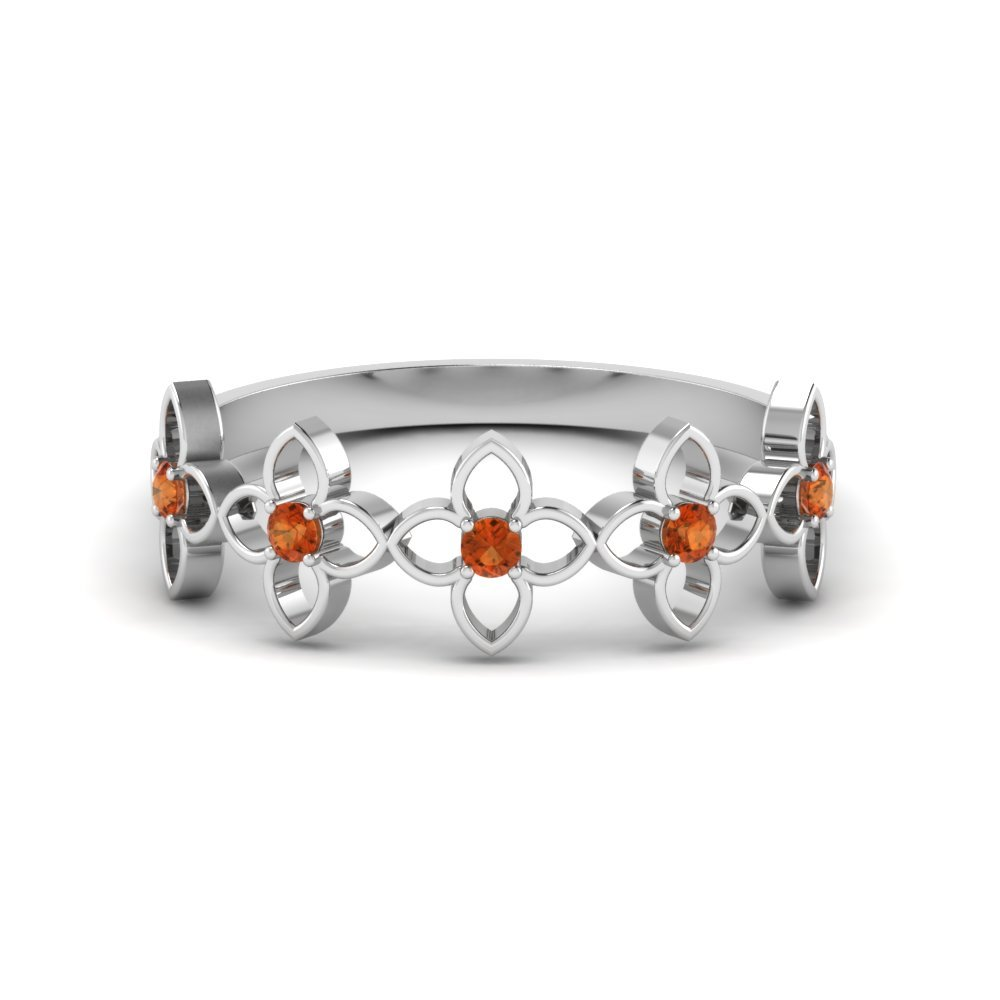 Floral Orange Sapphire Anniversary Ring