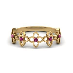 Daisy Flower Pink Sapphire Wedding Band In 14K Yellow Gold