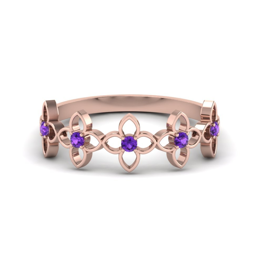 Flower Purple Topaz Wedding Band