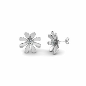 Daisy Nature Inspired Earring In 14K White Gold