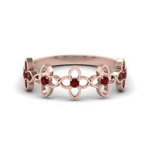 Daisy Ruby Wedding Band In 14K Rose Gold