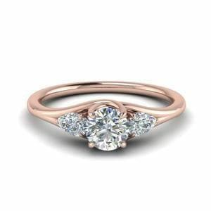 Delicate 3 Stone Diamond Ring For Mother In 14K Rose Gold