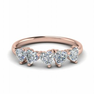 Five Stone Heart Shaped Diamond Band