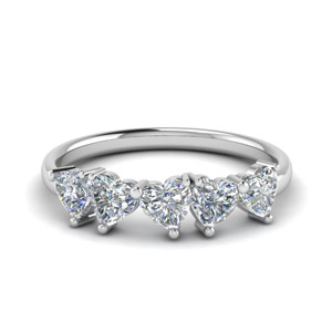 5 Stone Heart Shaped Band 1.25 Carat