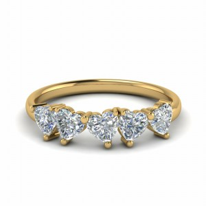 Gold Delicate 5 Stone Diamond Band