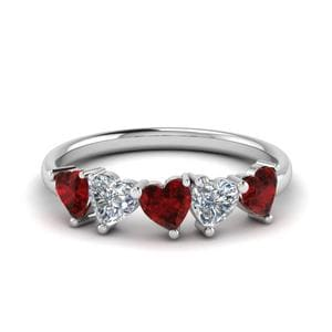 1.25 Carat White Gold Ruby Band