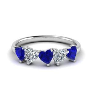 Platinum Five Stone Heart Shaped Band