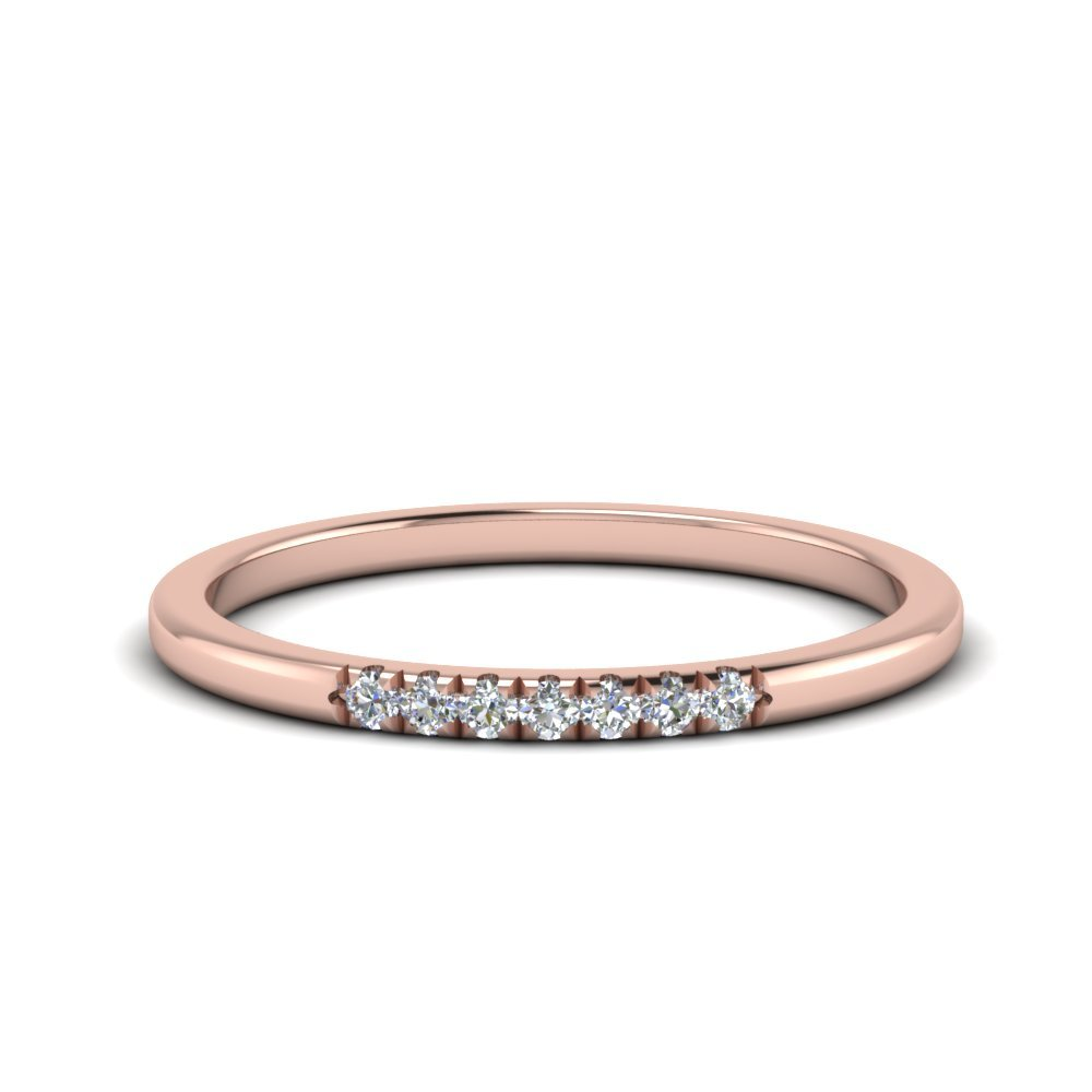 Delicate 7 Stone Wedding Band In 14K Rose Gold