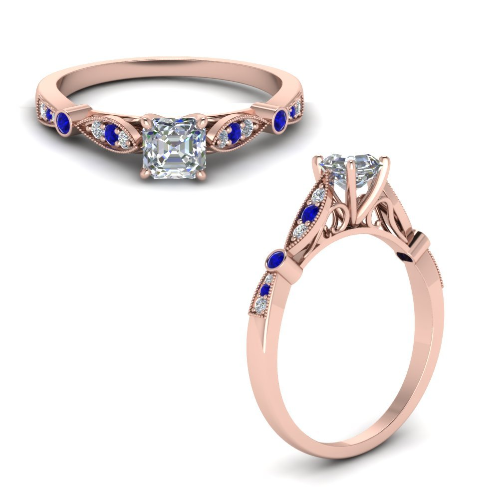 Delicate Art Deco Asscher Diamond Engagement Ring With Sapphire In 14K Rose Gold