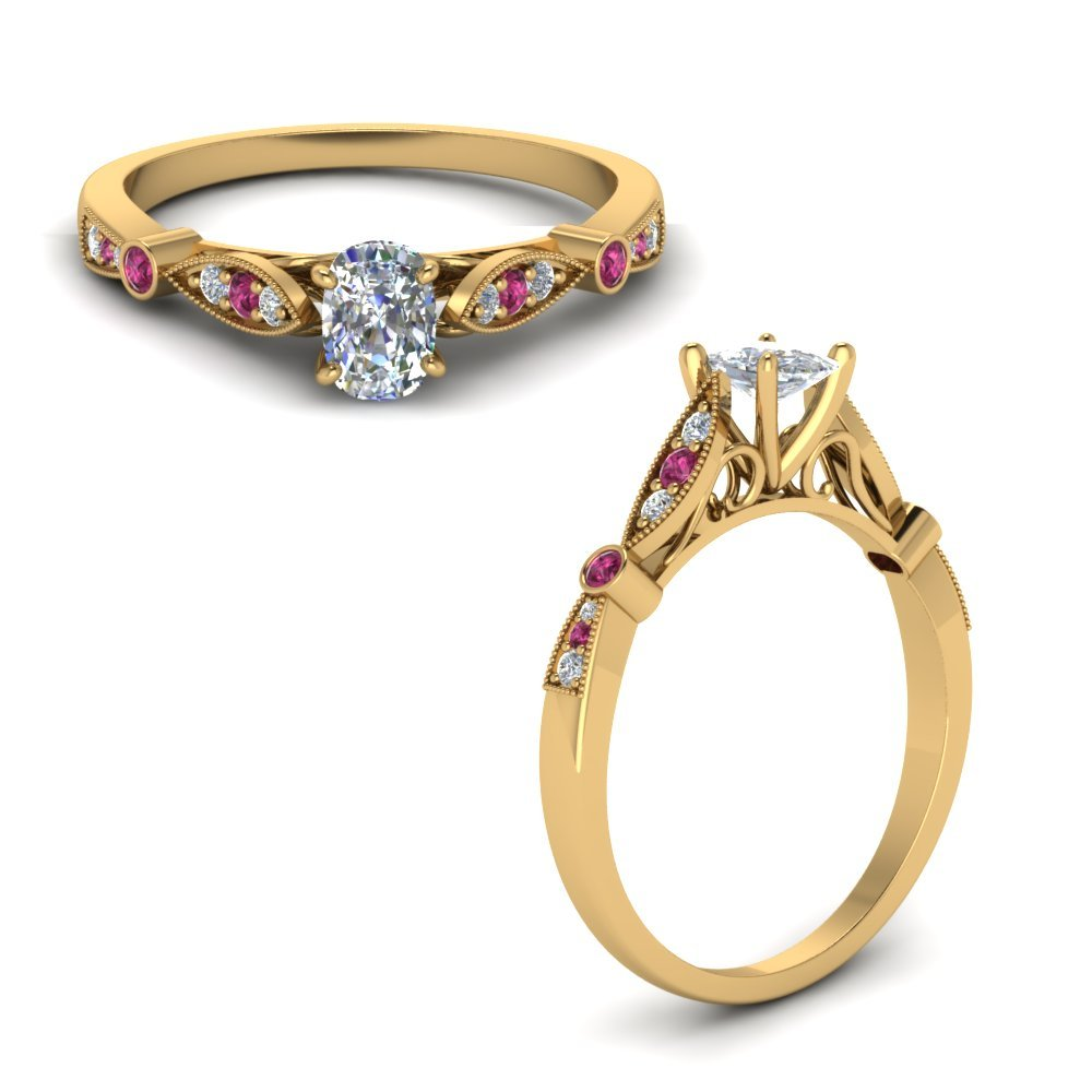 Delicate Art Deco Cushion Diamond Engagement Ring With Pink Sapphire In 14K Yellow Gold