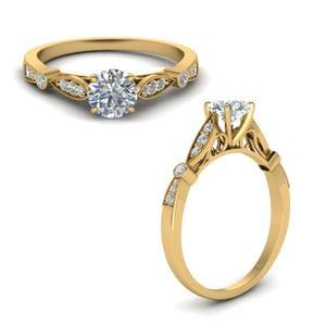 Delicate Art Deco Round Diamond Engagement Ring In 18K Yellow Gold