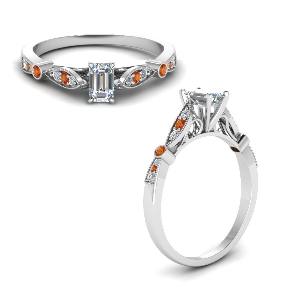 Delicate Art Deco Emerald Cut Diamond Engagement Ring With Orange Sapphire In 14K White Gold