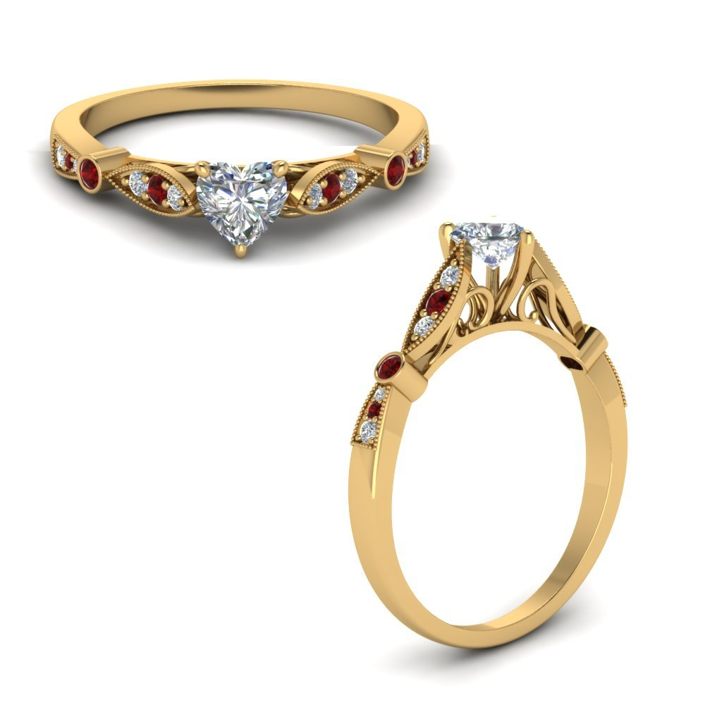 Delicate Art Deco Heart Diamond Engagement Ring With Ruby In 14K Yellow Gold