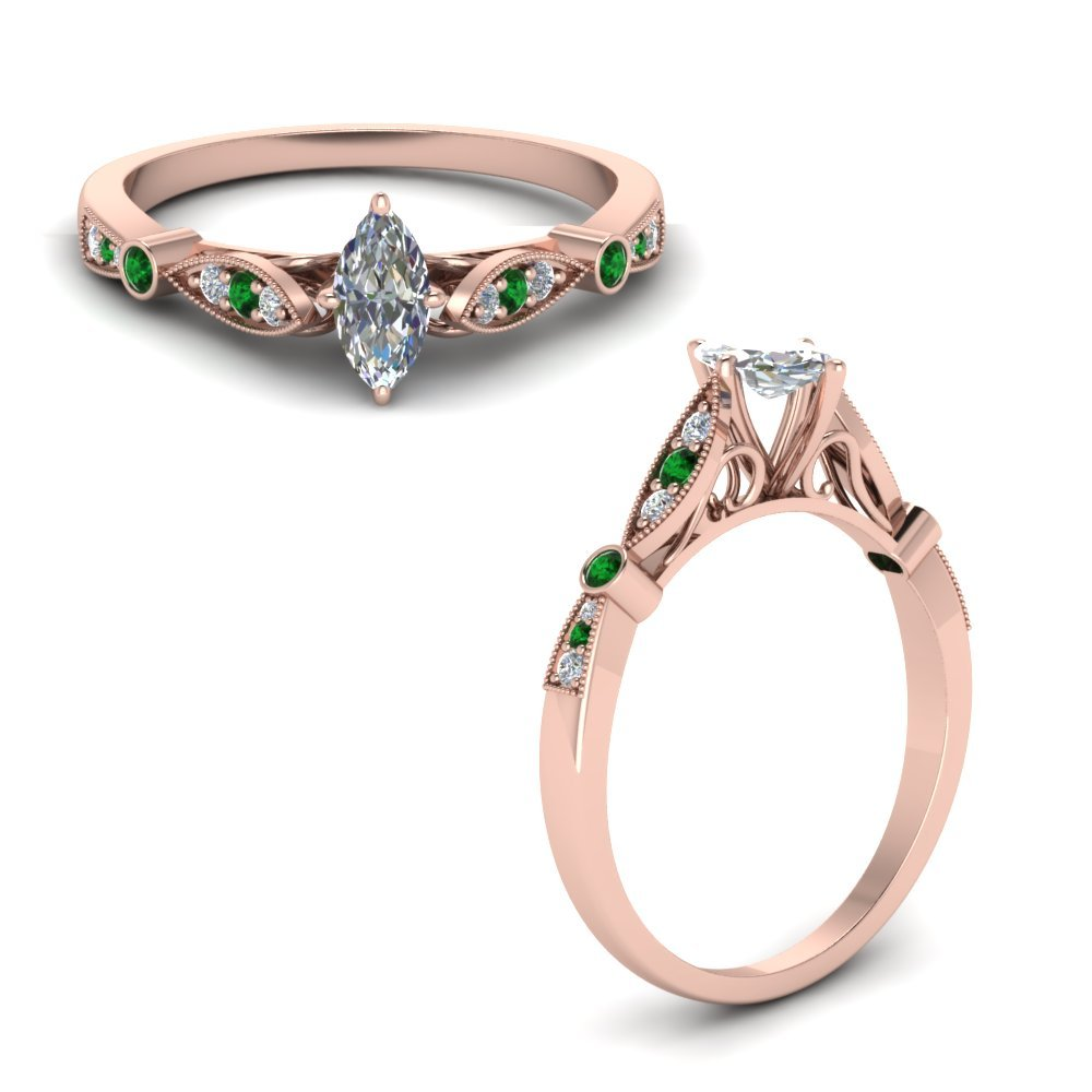 Delicate Art Deco Marquise Diamond Engagement Ring With Emerald In 18K Rose Gold