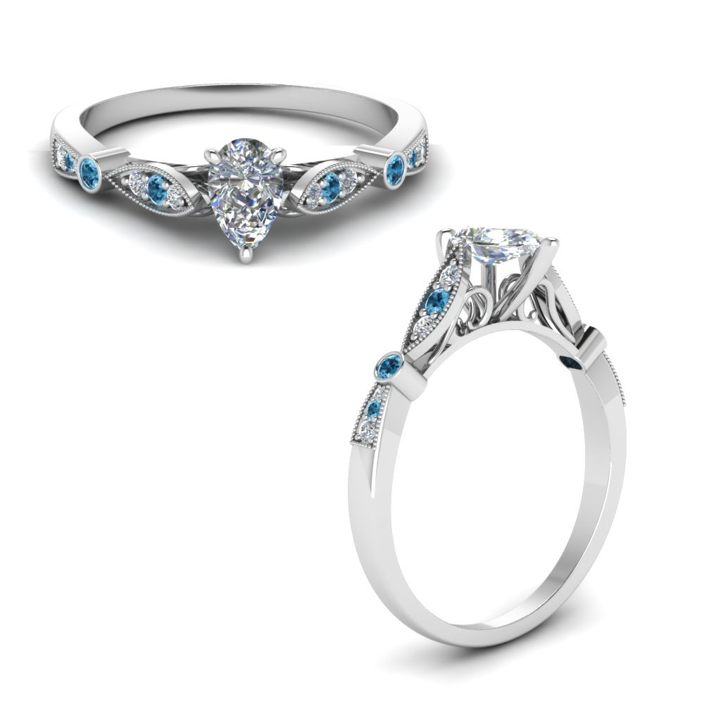 Delicate Art Deco Pear Diamond Engagement Ring With Blue Topaz In 14K White Gold